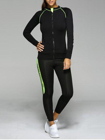 Sale Contrast Color Zippered Letter Pattern Sports Suit
