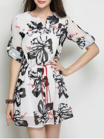 Online Flowers Print Drawstring Chiffon Dress