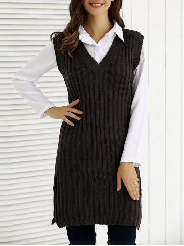V-Neck Furcal côtelé Knitting Dress