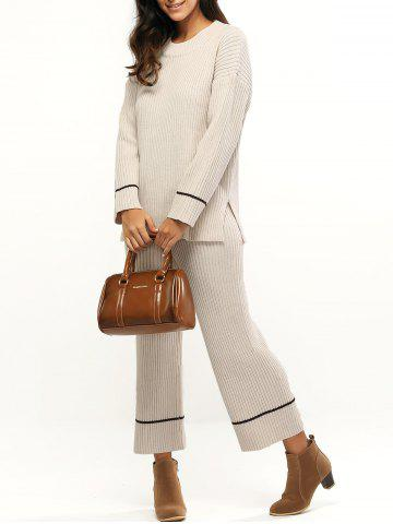 Best Ribbed Furcal Sweater + High Waist Knitting Pants Twinset