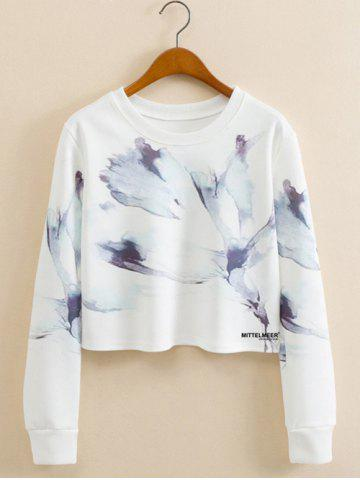 Hot Abstract Ink Panting Cropped Long Sleeve Sweatshirt WHITE L