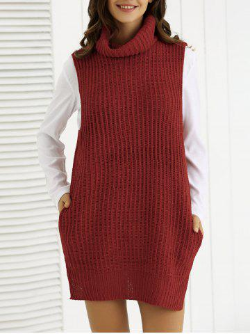 Cheap Cowl Collar Pocket Design Ribbed Knitwear