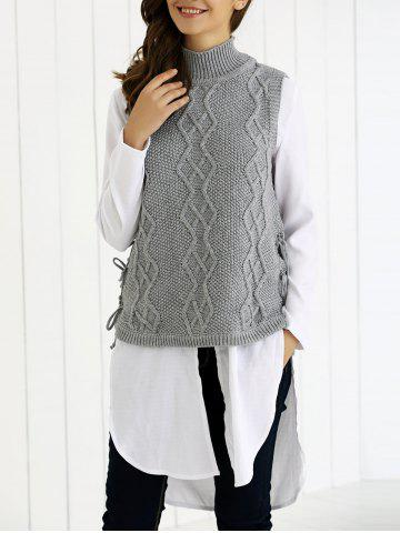 Outfit Turtle Neck Ribbed Knitting Tank Top
