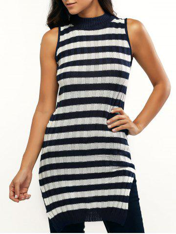 Latest Sleeveless Striped Furcal Ribbed Knitwear