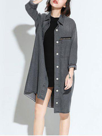 Shops Zippered Loose-Fitting Pocket Design Denim Thin Coat