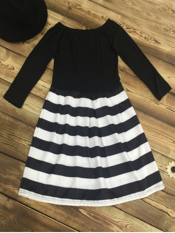 Fancy Retro Boat Neck Stripe Color Block Fit and Flare Dress