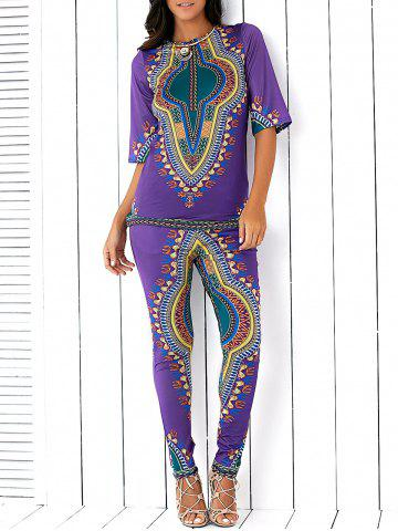 Chic Ethnic Style Totem Print Slit High Low Blouse and Skinny Pants Twinset