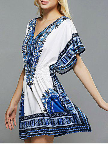 Best Ethnic Style Totem Print Shirred Waist Dress BLUE XL