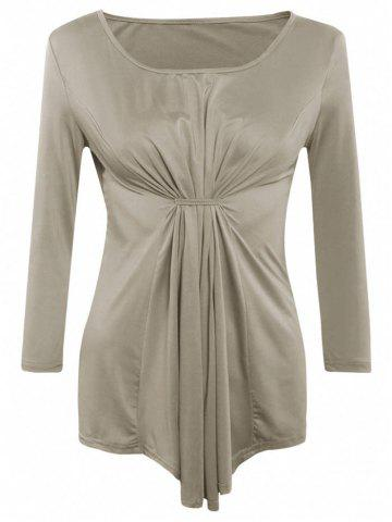 Unique Asymmetrical Long Sleeves Ruched Blouse