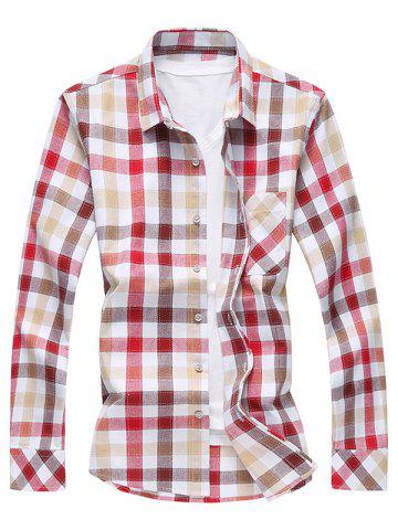 Outfit Long Sleeve Turn-Down Collar Plaid Shirt - 4XL COFFEE Mobile