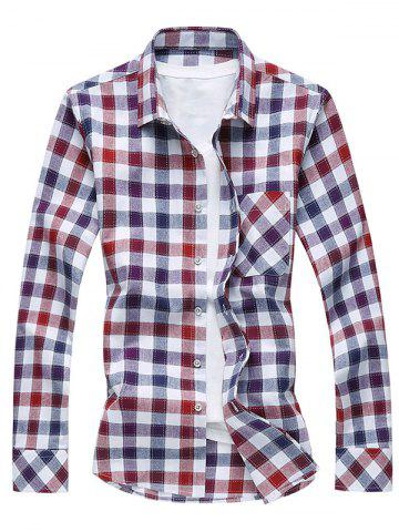 Cheap Long Sleeve Turn-Down Collar Plaid Shirt - 6XL PURPLE Mobile