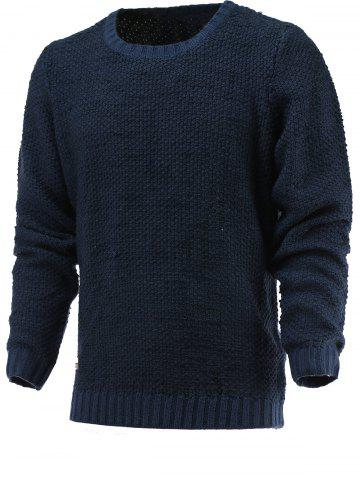 New Brief Style Round Neck Long Sleeve Sweater DEEP BLUE XL