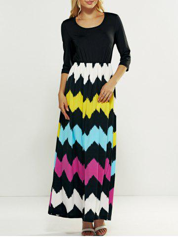 Online Hit Color Zig Zag Pattern Maxi Dress BLACK XL