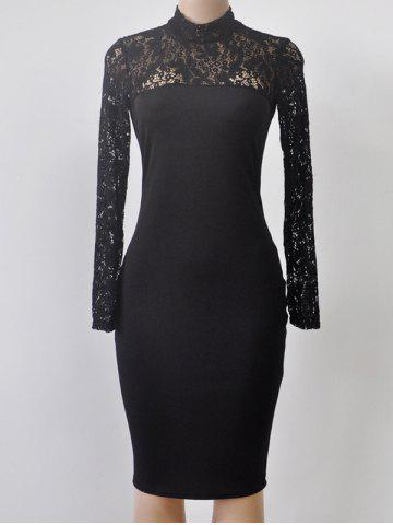 Sale Turtleneck Long Sleeve Lace Spliced Sheath Dress BLACK L