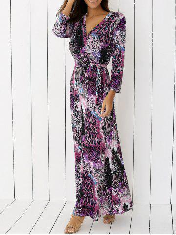 Sale V Neck Cheetah Print Long Maxi Boho Dress PURPLE XL