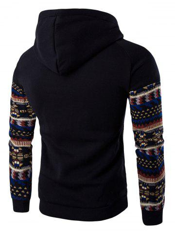 Hot Tribal Print Pocket Hooded Raglan Sleeve Hoodie - 2XL BLACK Mobile