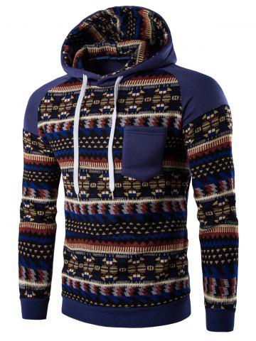 d9db336ead7d Tribal Print Pocket Hooded Raglan Sleeve Hoodie