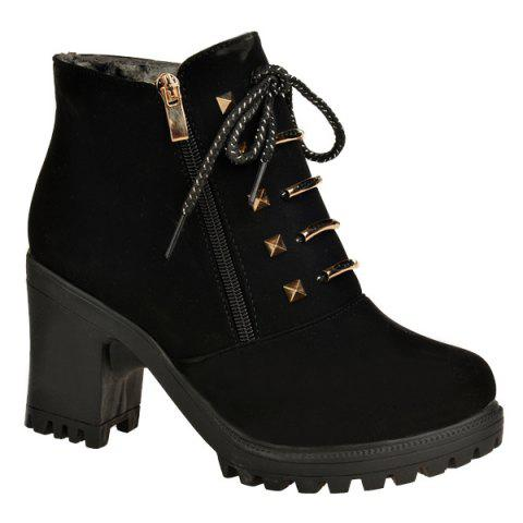 Outfit Chunky Heel Side Zip Rivet Short Boots