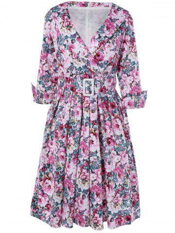 Hot Vintage Surplice Shawl Collar Cuffed Sleeve Belted Floral Dress For Women