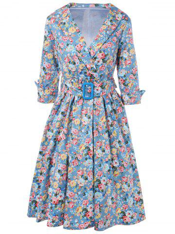 Trendy Vintage Belted Surplice Shawl Collar Cuffed Sleeve Floral Dress For Women