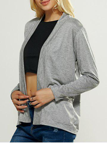 Store Casual Pocket Design Loose Fitting Cardigan GRAY XL