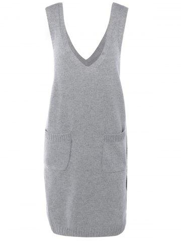 Sans manches Pocket design Solid Color Knitting Dress - Gris TAILLE MOYENNE
