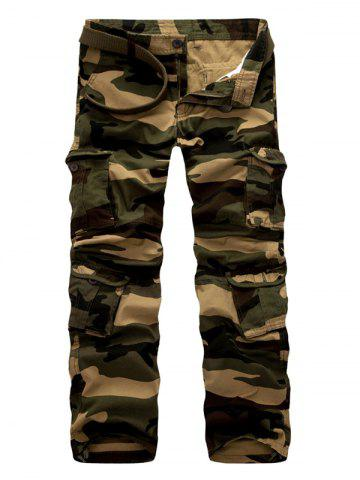 Zipper Fly Casual Camouflage Straight Leg Multi-Pockets Design Pants