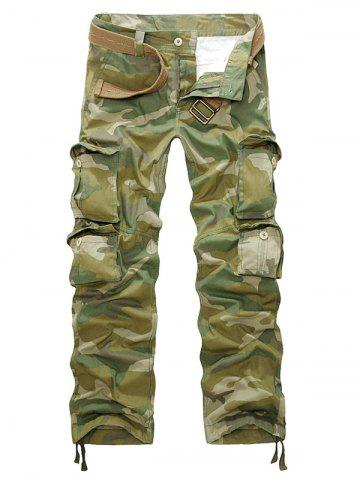 Online Camouflage Zipper Fly Straight Leg Multi-Pockets Embellished Pants CAMOUFLAGE 40