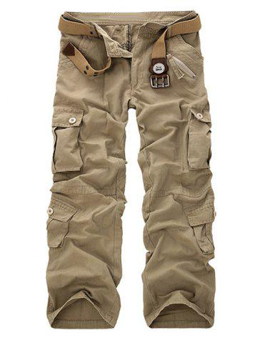 Zipper Fly Straight Leg Multi-Pockets Embellished Pants - LIGHT KHAKI 38