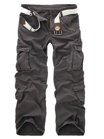 Buy Zipper Fly Straight Leg Multi-Pockets Cargo Pants GRAY 28