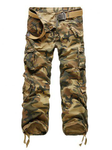Hot Zipper Fly Straight Leg Multi-Pockets Embellished Camouflage Pants EARTHY 40