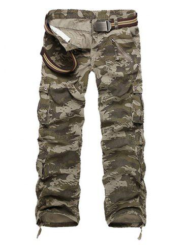 Outfit Zipper Fly Straight Leg Multi-Pockets Embellished Camo Pants CAMOUFLAGE 40