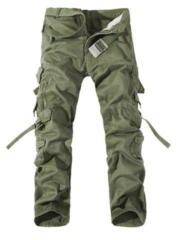 Buy Plus Size Buckle Strap Cargo Pants GRASS GREEN 40