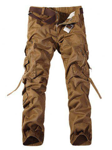 Discount Plus Size Buckle Strap Cargo Pants BROWN 38