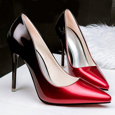 Latest Stiletto Heel Pointed Toe Gradient Color Pumps - WINE RED 37 Mobile