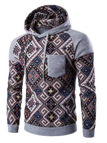 Trendy Ethnic Style Abstract Print Pocket Hooded Raglan Sleeve Hoodie LIGHT GRAY 2XL