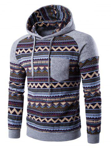 Sale Color Block Tribal Printed Pocket Hooded Raglan Sleeve Hoodie LIGHT GRAY 2XL