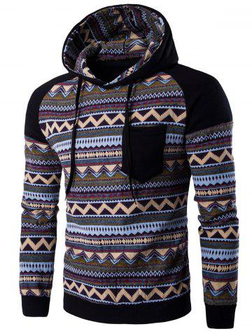 Cheap Color Block Tribal Printed Pocket Hooded Raglan Sleeve Hoodie - BLACK L Mobile
