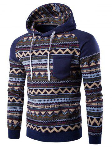 Color Block Tribal Printed Pocket Hooded Raglan Sleeve Hoodie - Denim Blue - M