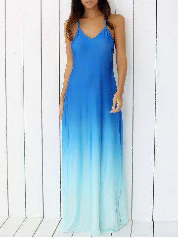 Trendy Ombre Long Backless Slip Semi Formal Prom Dress BLUE L