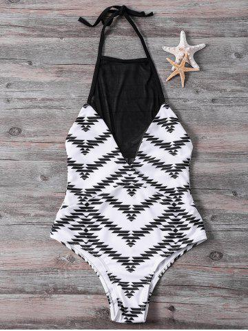 Stylish High Collar Mesh Splicing Zig Zag One-Piece Swimwear For Women - White - L