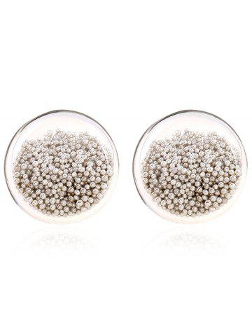 Pair of Transparent Beads Stud Earrings - White