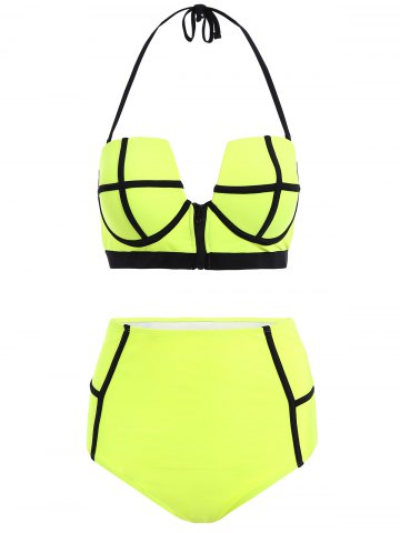 Discount Halter High Waisted Neoprene Bikini Set LIGHT GREEN XL