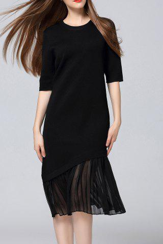 Buy Pleated Sweater Midi Dress BLACK ONE SIZE(FIT SIZE XS TO M)