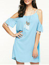 Stylish Round Neck Cold Shoulder Fringe Dress