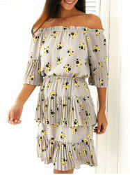 Pleated Off-The-Shoulder Floral Print Dress -