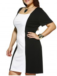Plus Size Square Collar Color Block Dress - WHITE AND BLACK