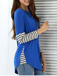 Striped Color Block Arc-Shaped Hem Blouse