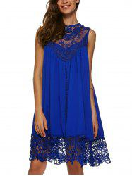 Lace Panel A Line Casual Swing Dress - SAPPHIRE BLUE