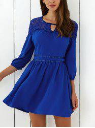 Lace Spliced Mini Flare Cocktail Dress - ROYAL BLUE